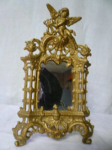 Vintage Cast Iron Art Gold Frame Mirror On Stand With Angel Motif