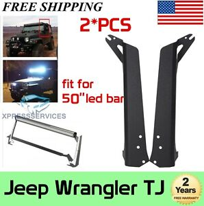 For 97 06 Jeep Wrangler Tj 50inch Led Light Bar Roof Windshield Mounting Bracket