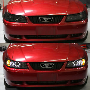 Black Smoke 1999 2004 Ford Mustang Gt Cobra Svt Led Halo Projector Headlights