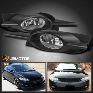 For 2009 2011 Honda Civic 2dr Coupe Clear Bumper Fog Daytime Running Lights Pair