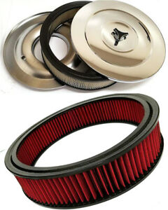 Chevy 14 Chrome Air Cleaner Kit Breather Filter Flat Base Bonus Washable Filter