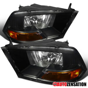 2009 2018 Dodge Ram 1500 Pair Black Clear Headlights Head Lamps Amber Left Right