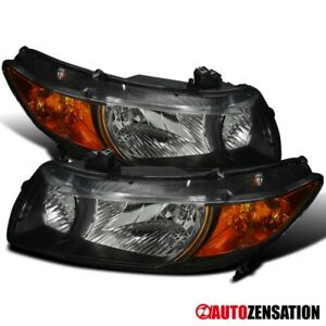 For 2006 2011 Honda Civic 2door Pair Black Clear Headlights Amber Signal Lamps