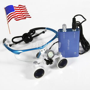 Us Stock Dental Surgical Binocular Loupes Magnifier Glasses Led Head Light Blu