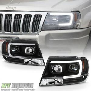 Blk 1999 2004 Jeep Grand Cherokee Optic Led Tube Projector Headlights Headlamps