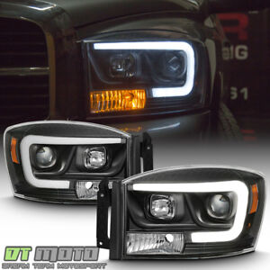 Black 2006 2008 Dodge Ram 1500 2500 3500 Led Tube Projector Headlights Headlamps