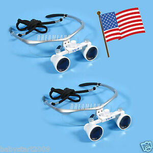 2 dental Surgical Binocular Loupes Glasses Lens Magnifier 3 5x Dentist Blue Usa