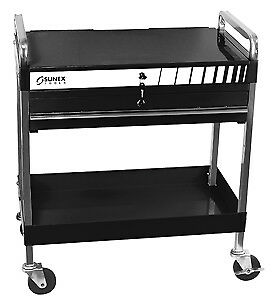 Sunex Tool 8013abk Black Service Cart With Lid And Locking Drawer