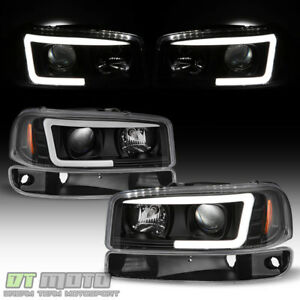 Blk 1999 2006 Gmc Sierra Yukon Led Tube Projector Headlights Bumper Signal Lamps