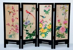 Vintage Chinese Table Screen Watercolor Painting On Paper Panels In Box