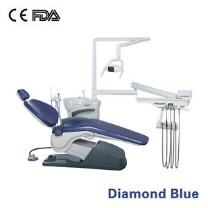 usa Stock computer Controlled Dental Unit Chair 110v 4 Holes Diamond Blue Fda
