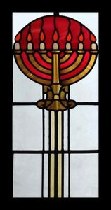 Rare Beautiful Art Deco Menorah Lampstand Stained Glass Window