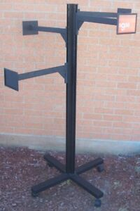 Store Display Fixtures Clothing Garment Rack On Rollers With Sign Bars 59 Tall