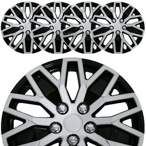 16 Silver Black Set Of 4 Wheel Covers Snap On Hub Caps Fit R16 Tire Steel Rim