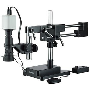 Amscope Industrial Inspection Zoom Monocular Microscope Double Arm Stand 108