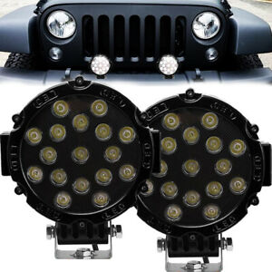 2x 7inch 51w Led Work Light Spot Beam Offroad Truck Round Fog Driving Lamp Black