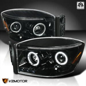 For 2006 2008 Dodge Ram 1500 2500 3500 Jet Black Dual Halo Projector Headlights