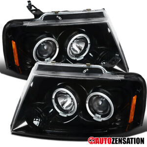 For 04 08 Ford F150 06 08 Lincoln Mark Lt Slick Black Halo Projector Headlights