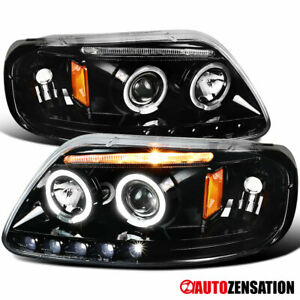 For 1997 2003 Ford F150 Expedition Led Drl Slick Black Halo Projector Headlights