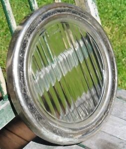 Antique Vintage Ford H Truck Headlight Cover Chrome Brass Cover Striped Glass
