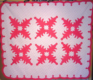 Pink Hawaiian Antique Applique Quilt 1930 40s Retro Deco