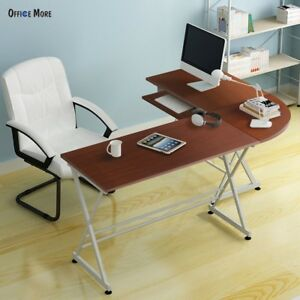 Mecor L shaped Corner Computer Pc Laptop Table Workstation Wood Desk Home Office
