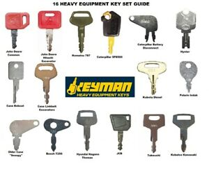 Heavy Equipment Key Set Construction Ignition 16 Key Ring Fits Many Makes Models