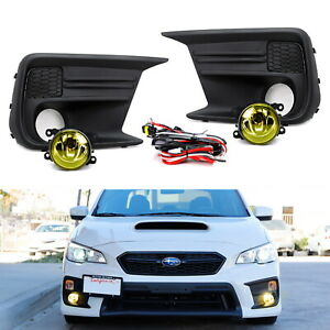 Yellow Lens Halogen Fog Light Assy W Bezel Wiring Kit For 18 Up Subaru Wrx Sti