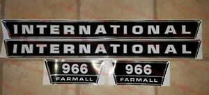 New Hood Side Panel Decal Set For Ih 966 Tractor International Farmall Decals