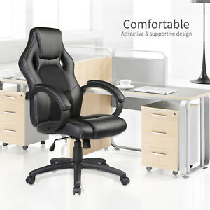 Mecor High Back Executive Swivel Black Leather Computer Desk Office Chair