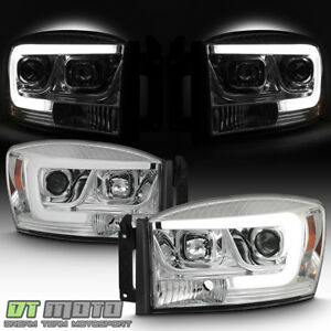 2006 2008 Dodge Ram 1500 2500 3500 Truck Led Tube Projector Headlights Headlamps