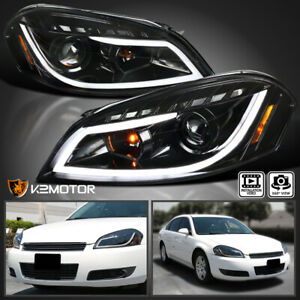 Jet Black 2006 2013 Chevy Impala Led Projector Headlights signal Lamps Pair