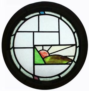 Rare Art Deco Sunburst Over The Hills English Round Stained Glass Window