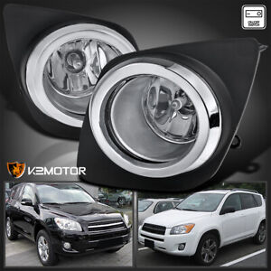 For 2009 2012 Toyota Rav4 Clear Bumper Fog Lights Driving Lamps Switch L R Pair