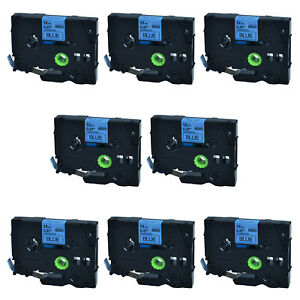 8pk For Brother P touch Pt d450 12mm 8m Tz 531 Black On Blue Label Tape Tze 531