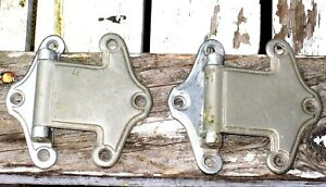 Vintage A Pair 2 Pieces Ice Box Nickle Silver Metal Strap Hinges