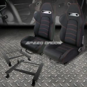 2x Black Cloth Red Dual Stitch Racing Seat Low Mount Bracket For 97 04 Corvette