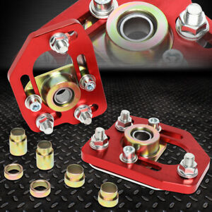 For 90 93 Ford Mustang Front Adjustable 3 0 Camber 2 0 Caster Plates Red