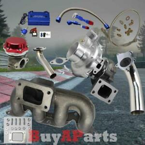 T3 T4 Turbo Manifold Red Wastegate Blue Boost Controller Kit For Civic 01 05 D17