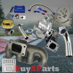 T3 T4 Turbo Manifold Gold Wastegate Blue Boost Controller Kit For Civic 01 05 D