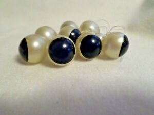 Vintage Buttons 8 Celluloid Navy Cream Balls