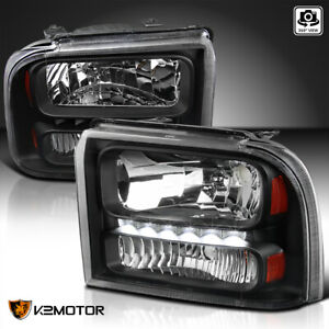 Fits 2005 2007 Ford F250 F350 F450 F550 Superduty Black Headlights W Led Strip