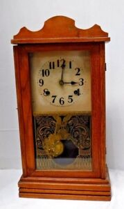 Antique 8 Day Waterbury Osprey Chime Clock Shelf Mantel Regulator Working