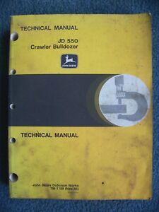 John Deere 550 Crawler Bull Dozer Technical Service Manual Tm 1108