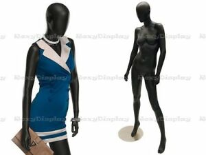 Female Fiberglass Satin Black Mannequin Egg Head Roxy Display mz ozib3