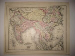 Mint Antiique 1896 Farther India Hindoostan China Tibet Mitchell Map Formosa N