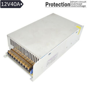 Dc 12v 40a 480w Output Switching Metal Power Supply Adapter For Led Strip Light
