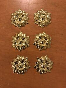 6 Victorian Ornate Stamped Brass Ormolu Applique Frame Trim Furniture