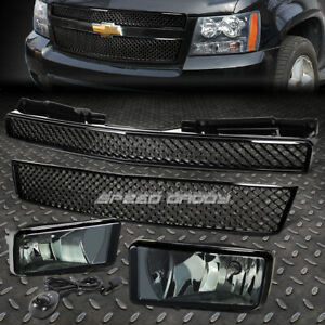 Front Bumper Meshed Grille Guard smoked Fog Light For 07 12 Chevy Tahoe suburban
