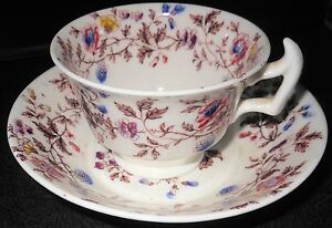 C1860 English Transfer Ware Cup And Saucer Staffordshire Deep Saucer Sipper